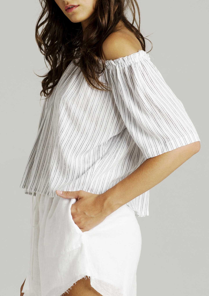 Rue Stiic Jane Decolleatge Top - Stripe - Side View
