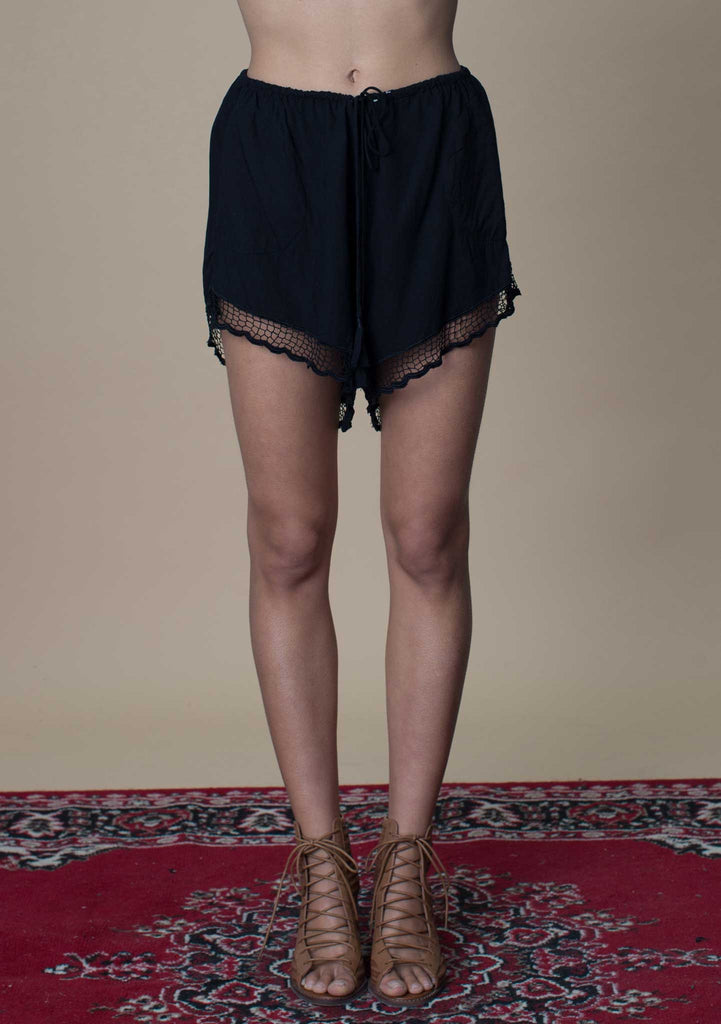 Rue Stiic Black Lace Shorts - Women's Shorts - Front View