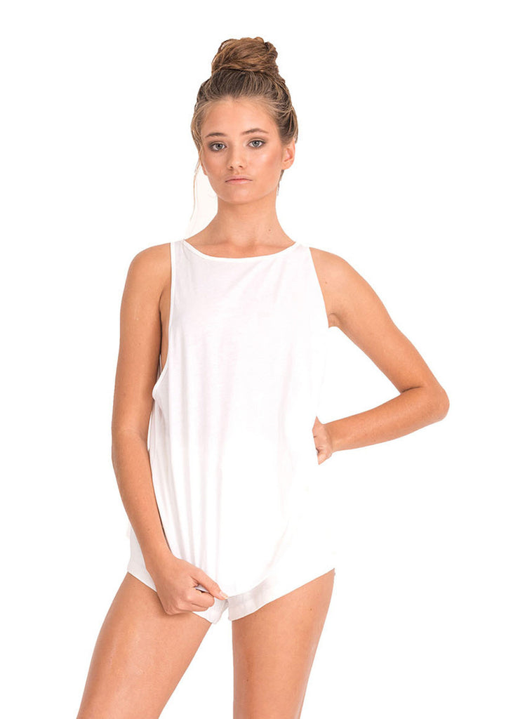 The Bare Road Classic Scoop Tank White || The Bare Road || White Tops || View 3