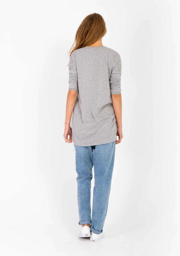 The Bare Road Grey Pocket Tee Back View