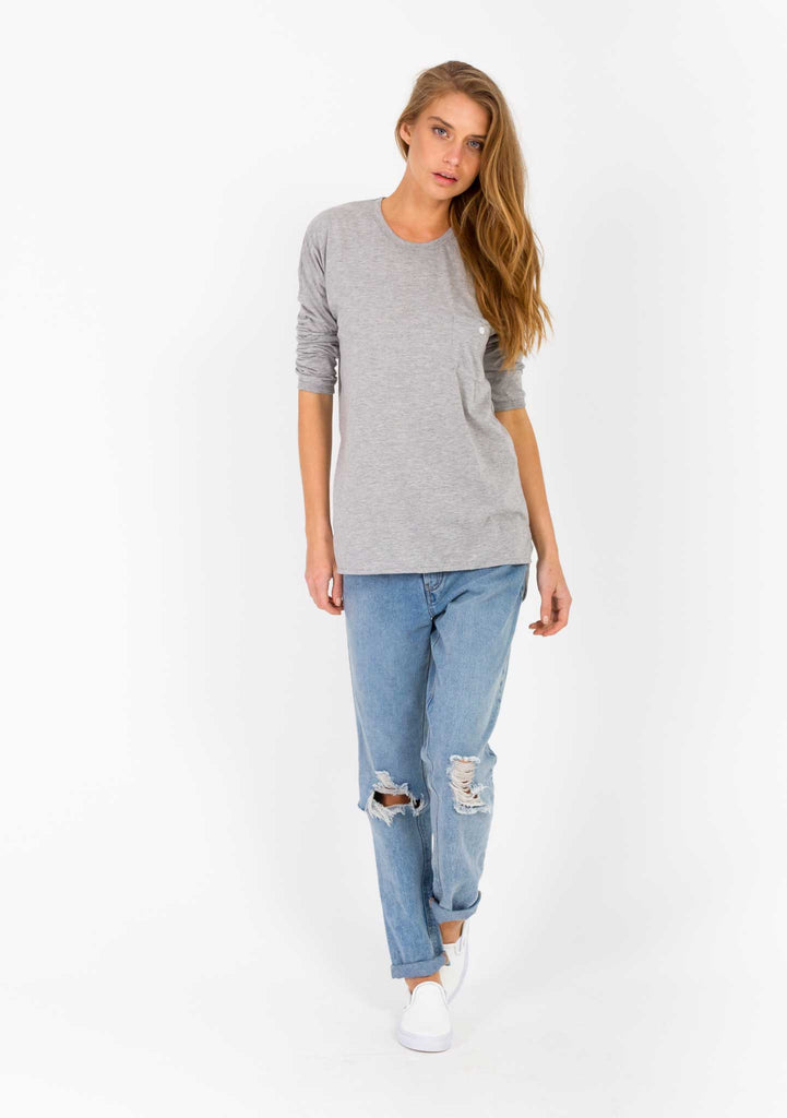 The Bare Road Grey Pocket Tee Front View