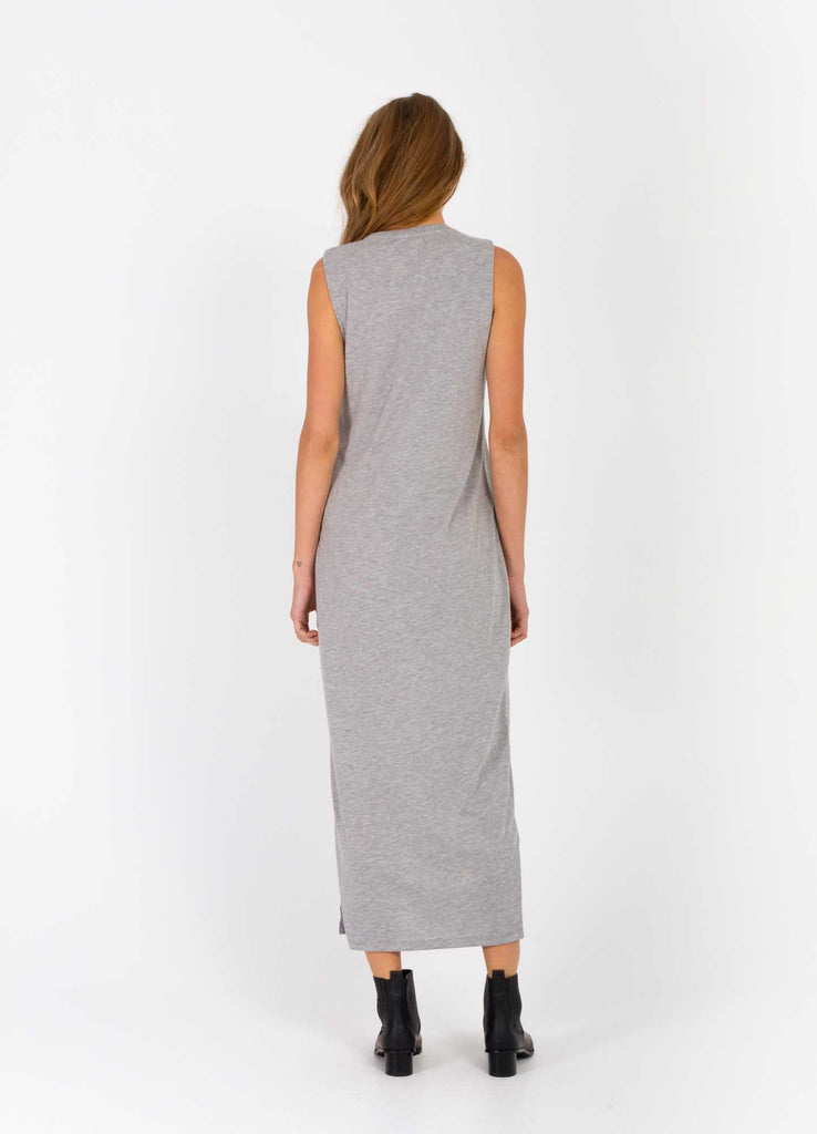 The Bare Road Maxi Cut Off Dress Grey Marle Back View