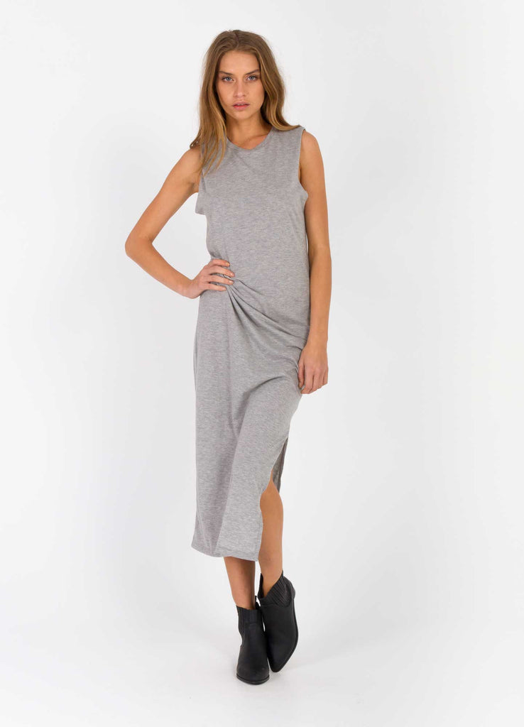The Bare Road Maxi Cut Off Dress Grey Marle Front View