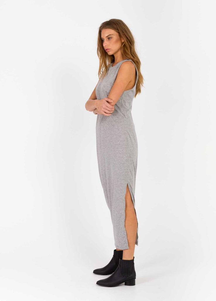 The Bare Road Maxi Cut Off Dress Grey Marle Side View
