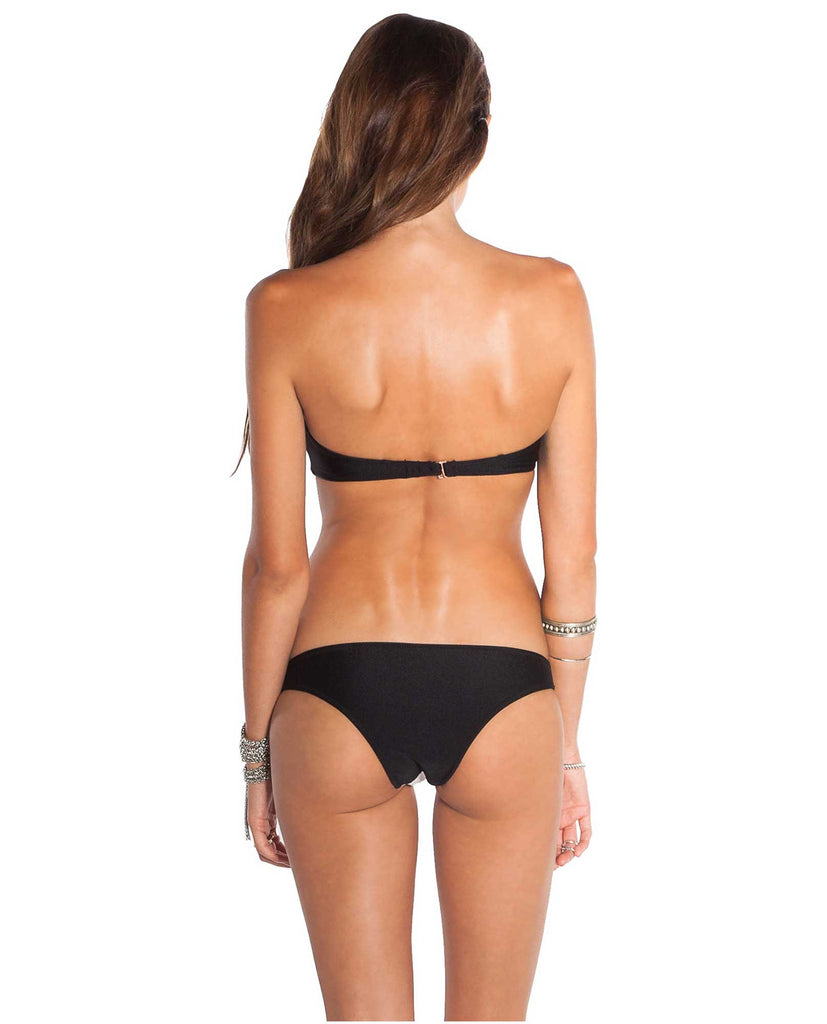 Amuse Society Mercury Quilted Bandeau Bikini Top - Black and White Swimwear - Back View