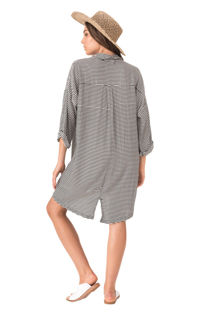 The Bare Road Shirt Dress -  Tilly Black Stripe - Back View