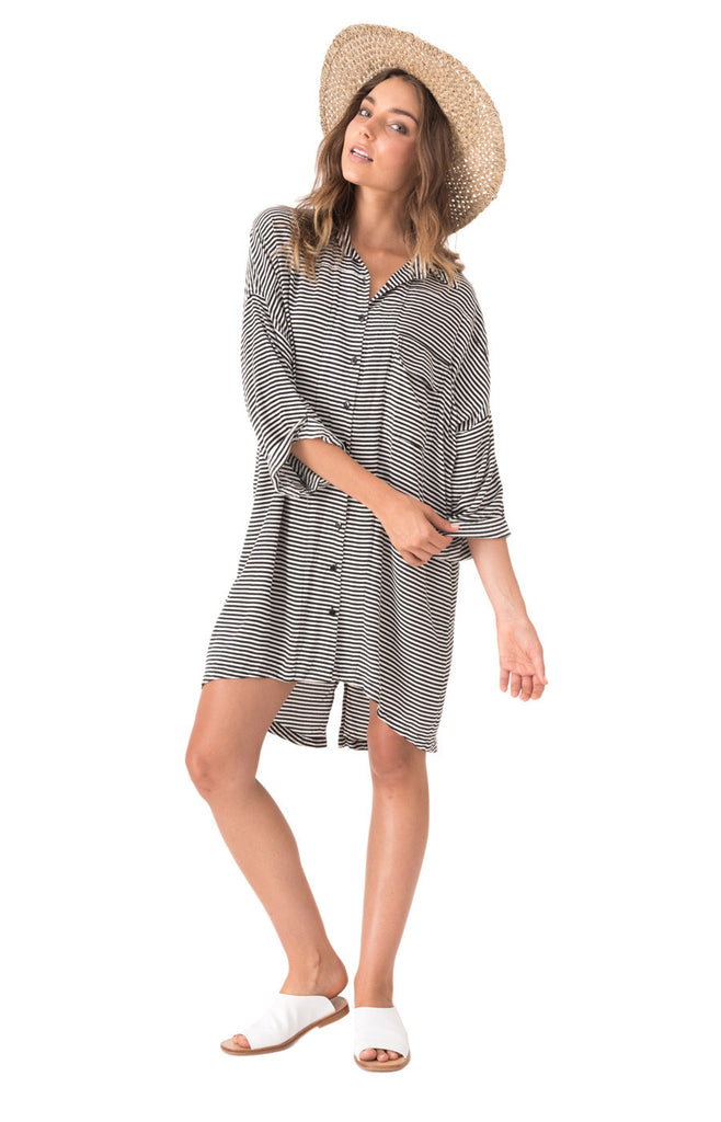 The Bare Road Shirt Dress -  Tilly Black Stripe - Front View