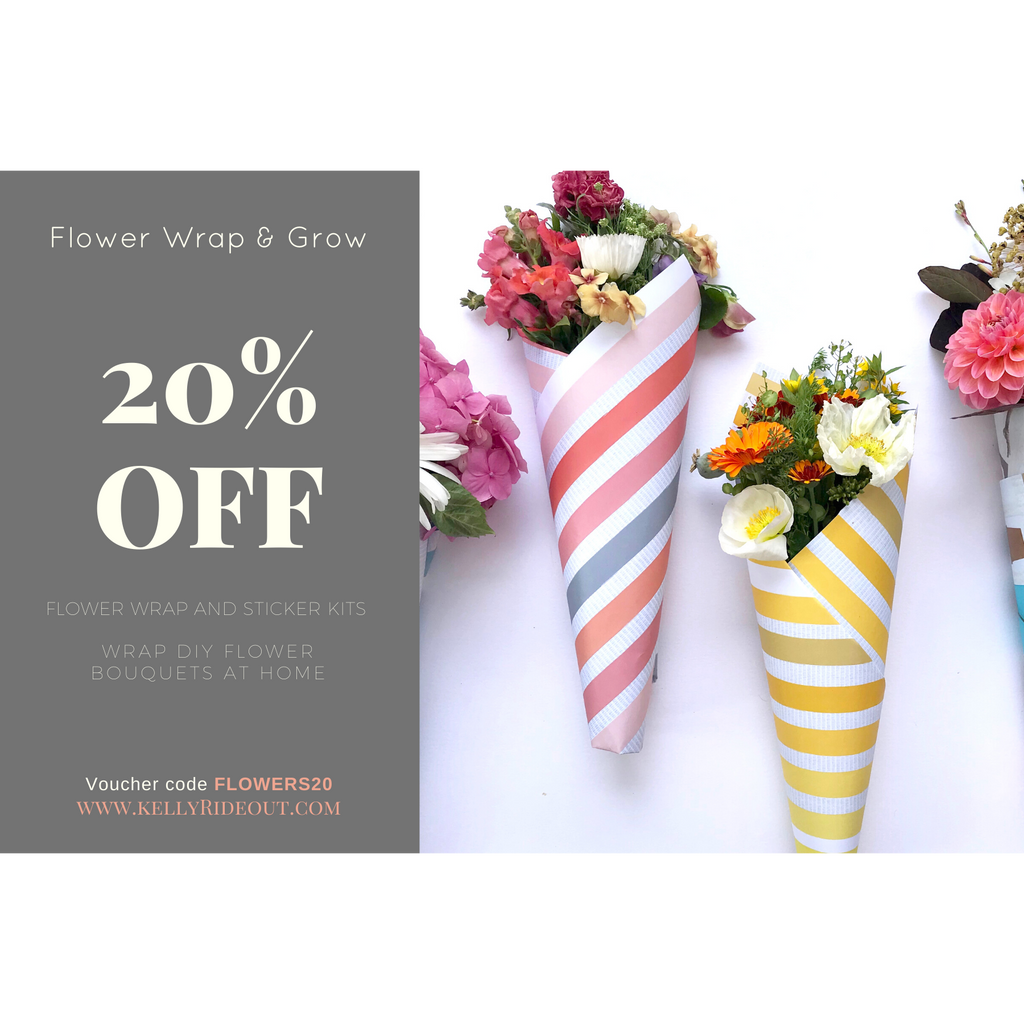20% Off flower wrapping papers and sticker sets