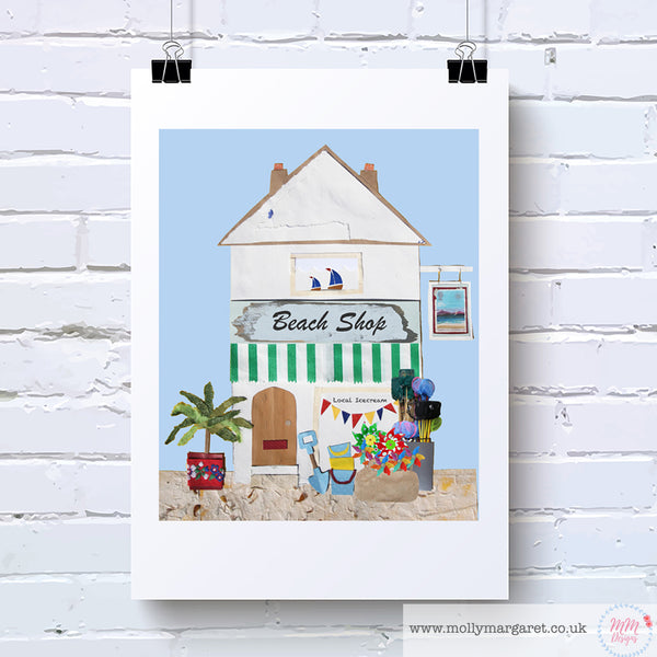 Handcrafted English Beach Shop Art Print