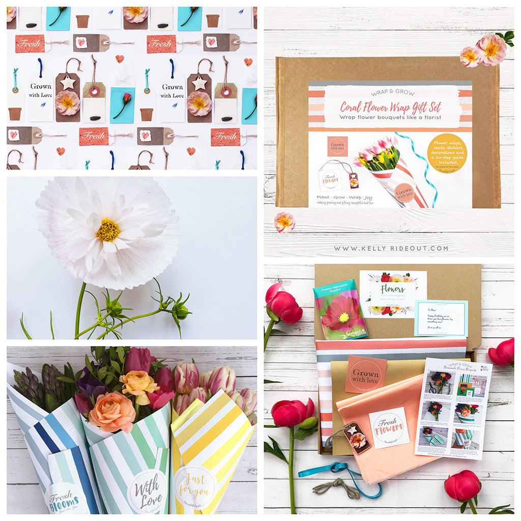 Coral Flower wrap gift set collage
