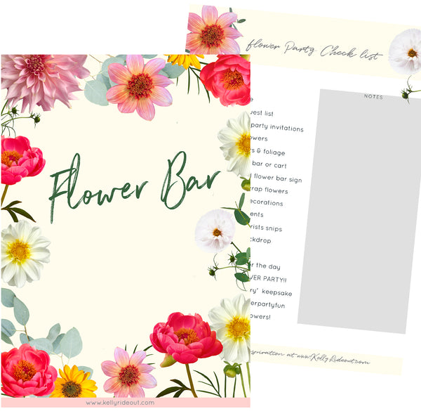 Flower Bar Sign and Party Check List