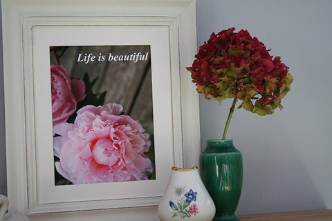 Pink Peony Life is Beautiful Art Picture