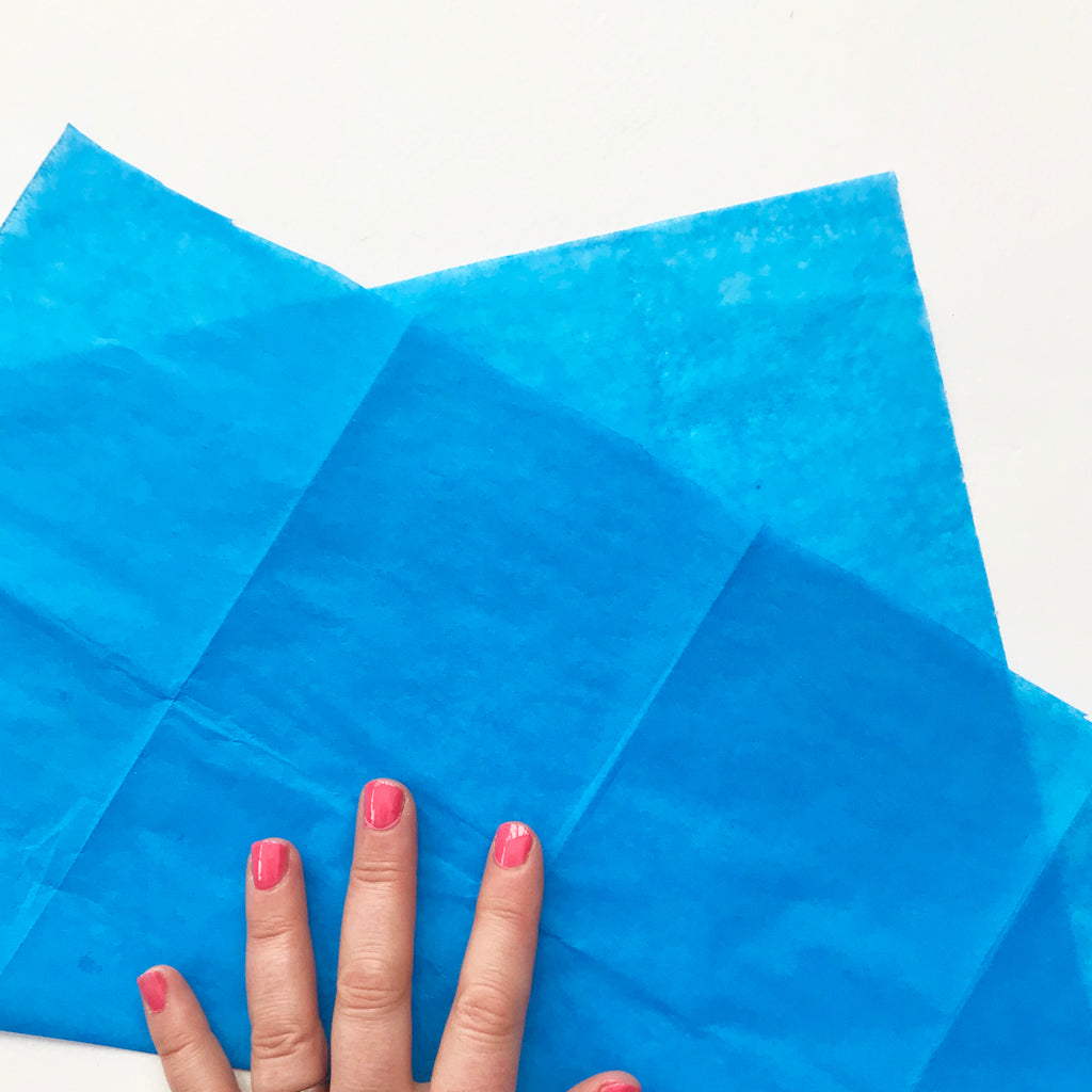Blue sating tissue paper