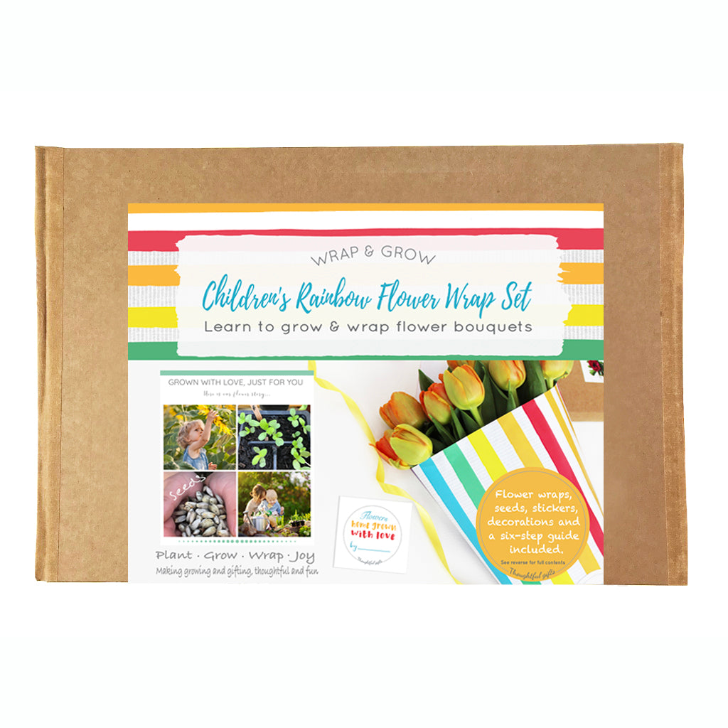 Children's Rainbow Flower Wrap and Grow Set Includes Seeds - Kelly Rideout Design