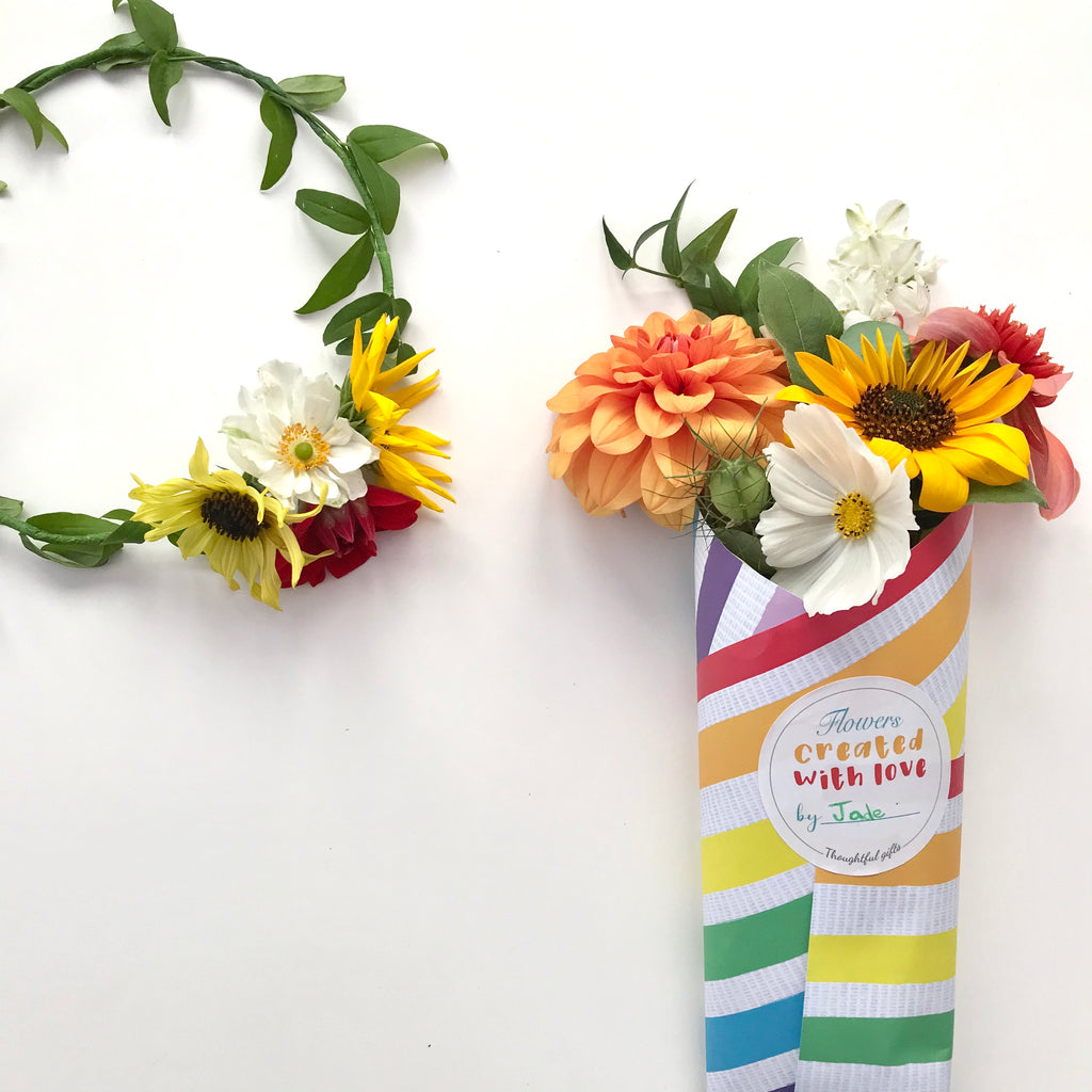 Flower wrapping and DIY Floral crown