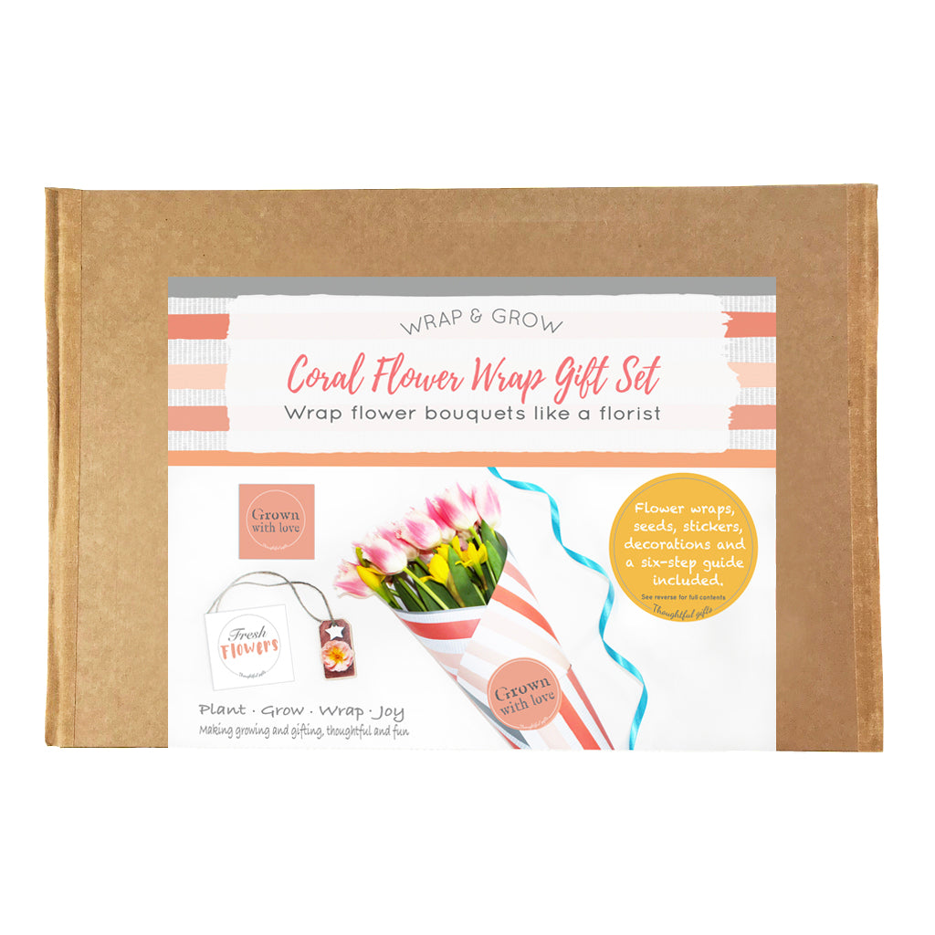 Coral Flower Wrap and Grow Gift Set - Flower Wrap and grow Uk