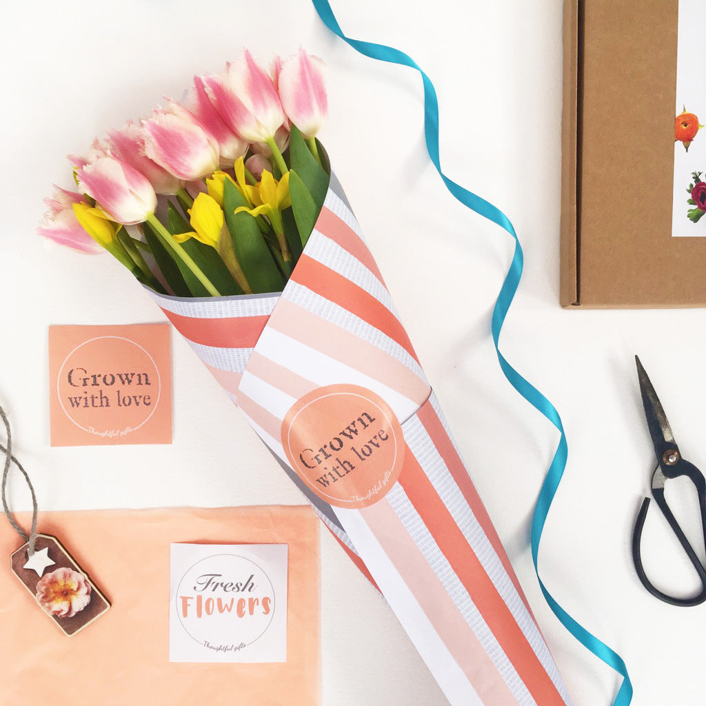 Coral Flower Wrap and Grow Gift Set - Flower Wrapping - Kelly Rideout Design