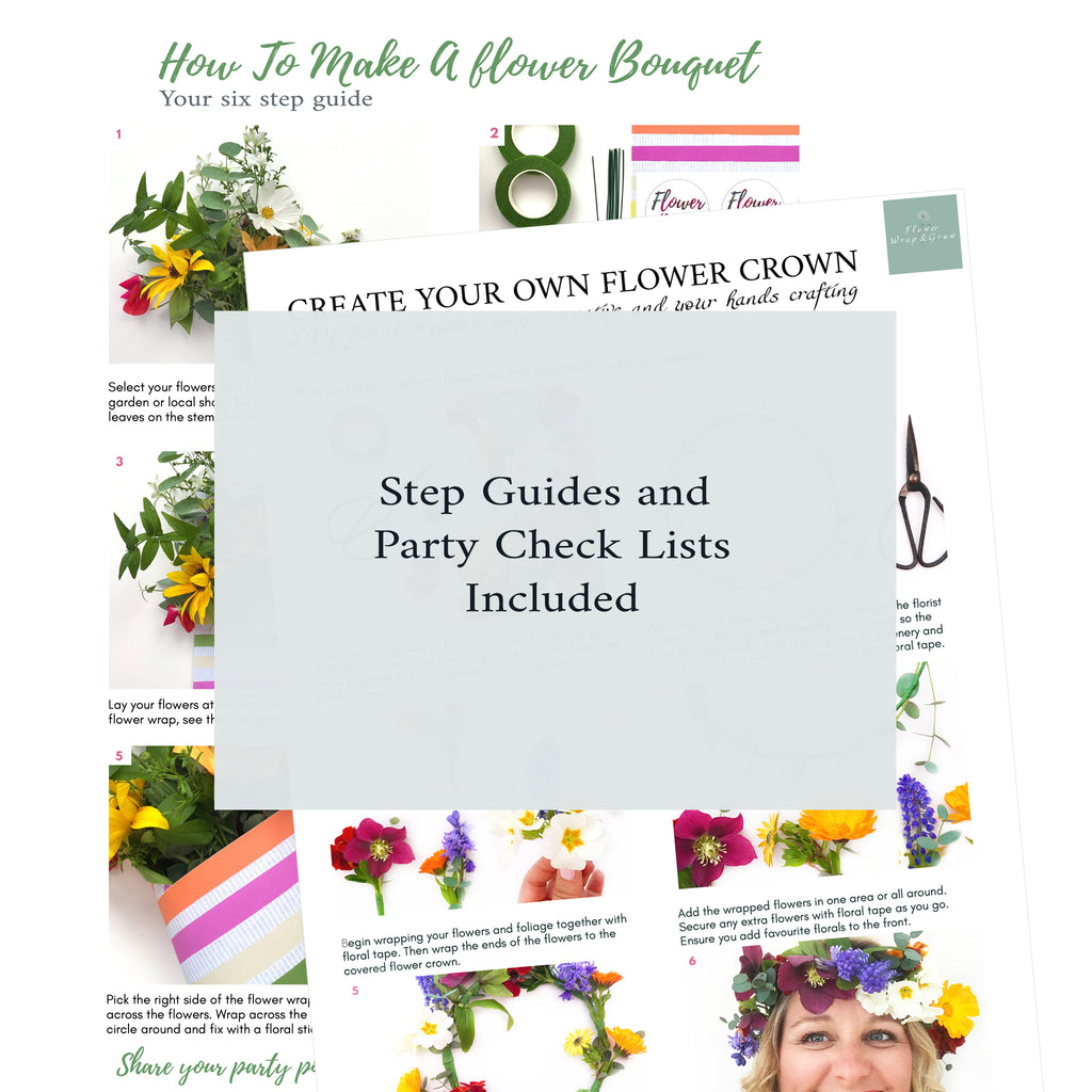 DIY Flower Crown Guides and Flower Wrapping Bouquet Steps