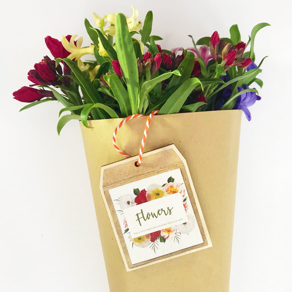 Wooden Flower Decoration 'Flowers' Seed Packet - Kelly Rideout Design