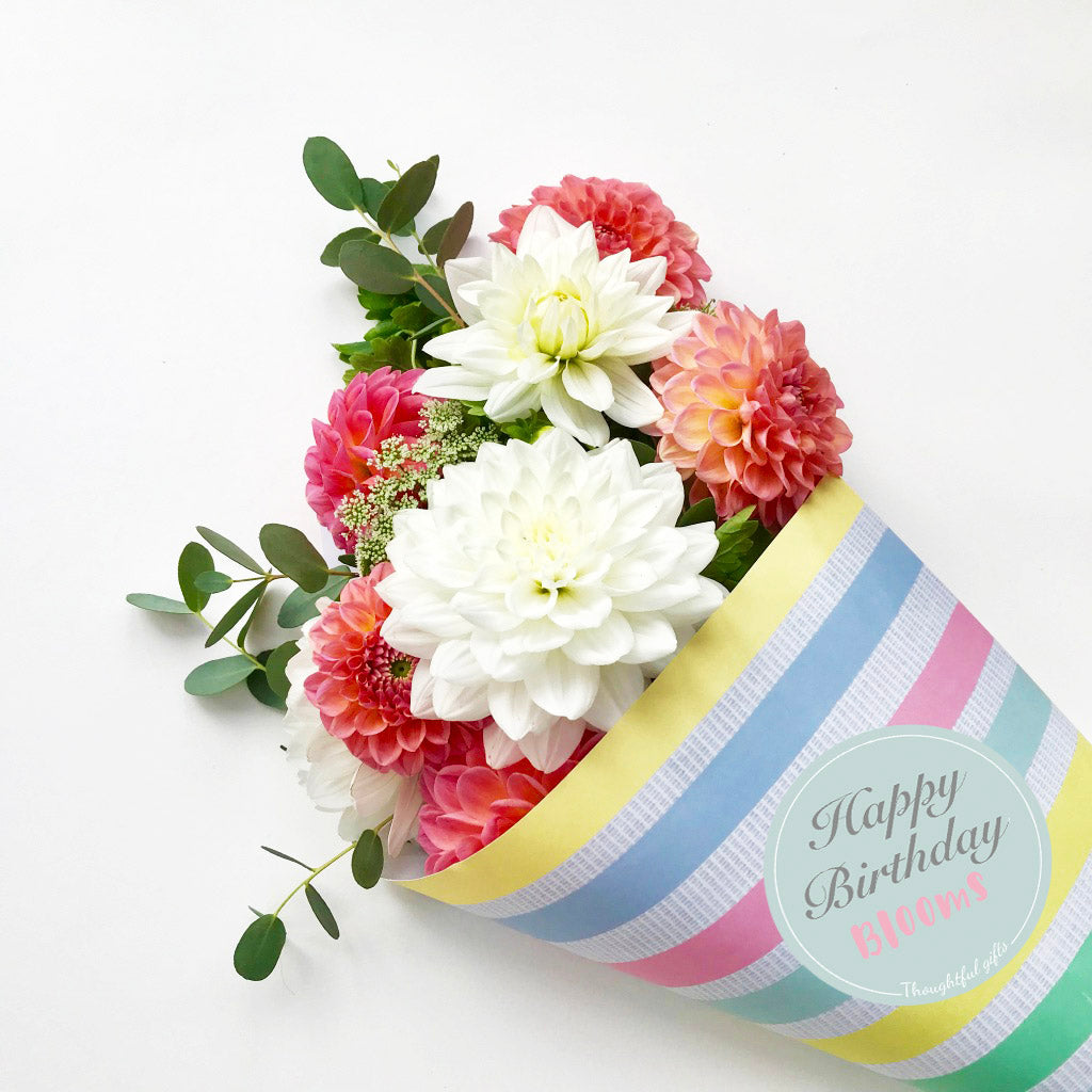 Happy Birthday Blooms Wrap and Stickers Kit