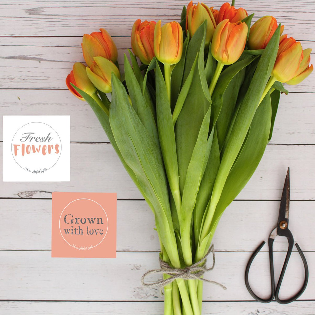 Orange tulips and flower stickers DIY Bouquets