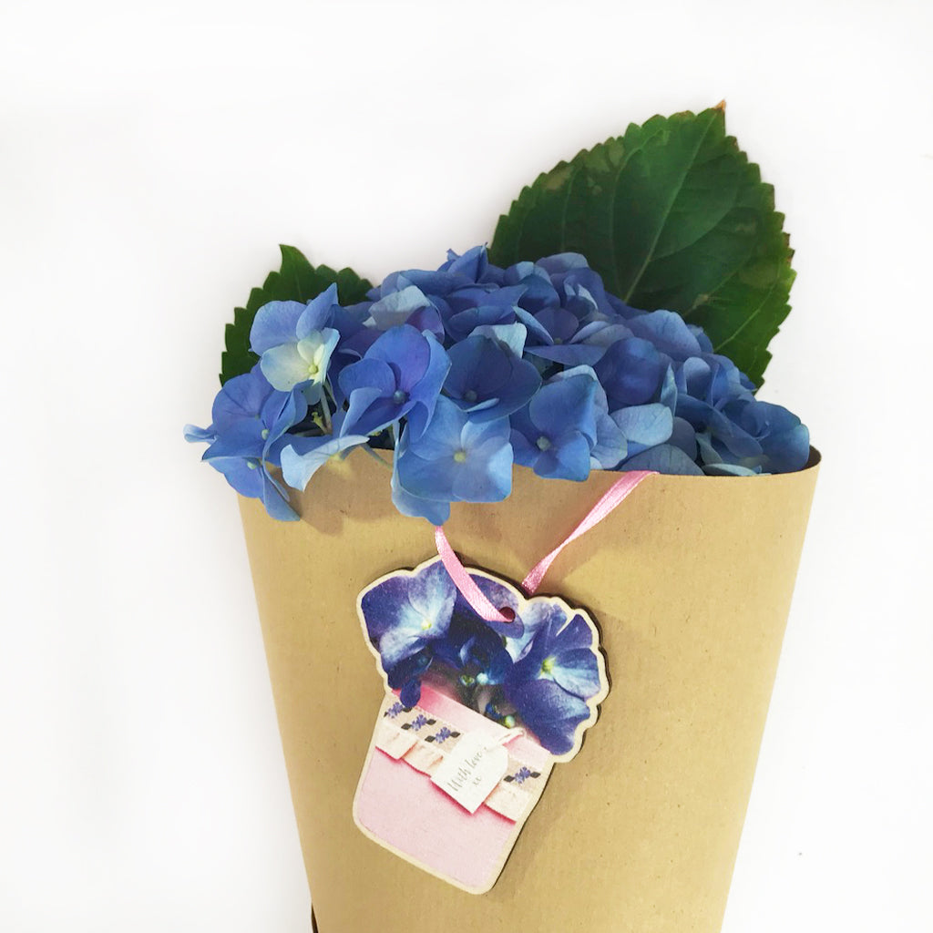 Hydrangea Flower Pot Wooden Present Gift Tag - Kelly Rideout Design