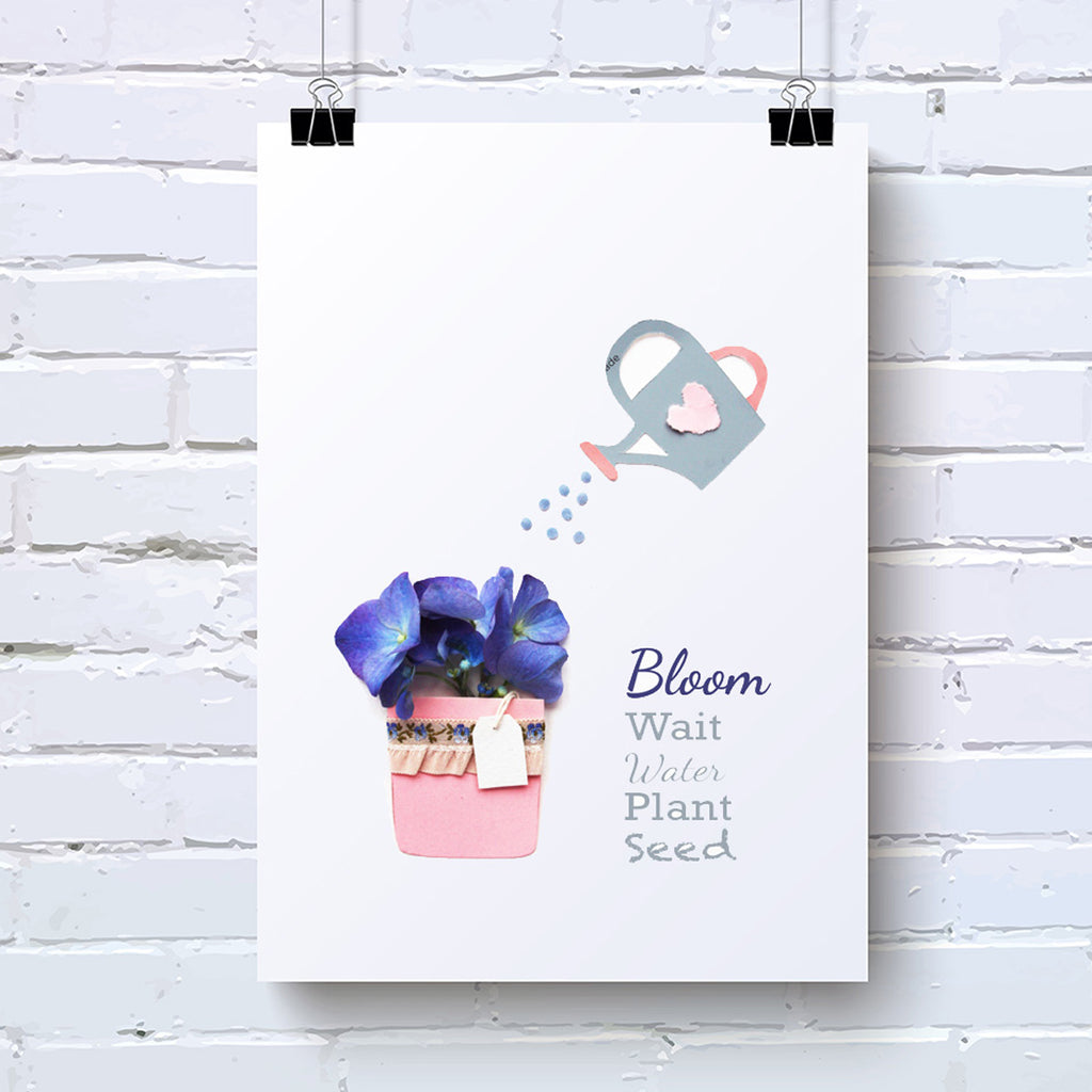 Hydrangea Water and Bloom Word Flower Art Print - Kelly Rideout Design