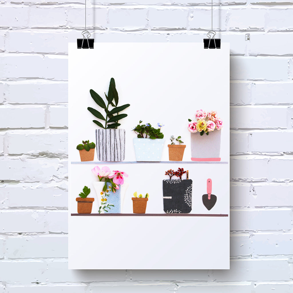 Plant Lovers Joy - Garden Pot Plant Wall Art Print - Kelly Rideout Design