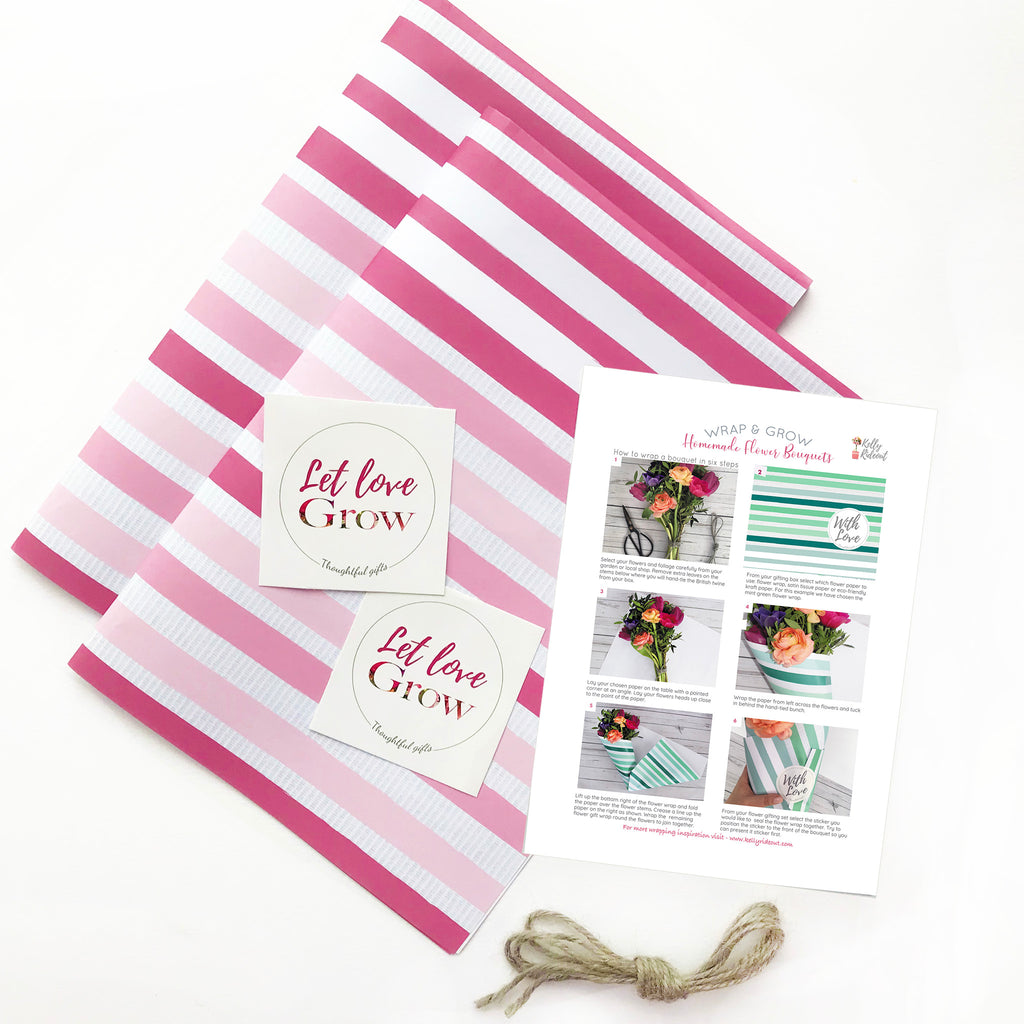 Pink Striped Ecofriendly Flower Wrapping paper