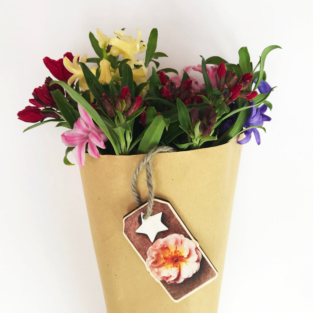 Rose Wooden Flower Decoration Gift Tag And Label