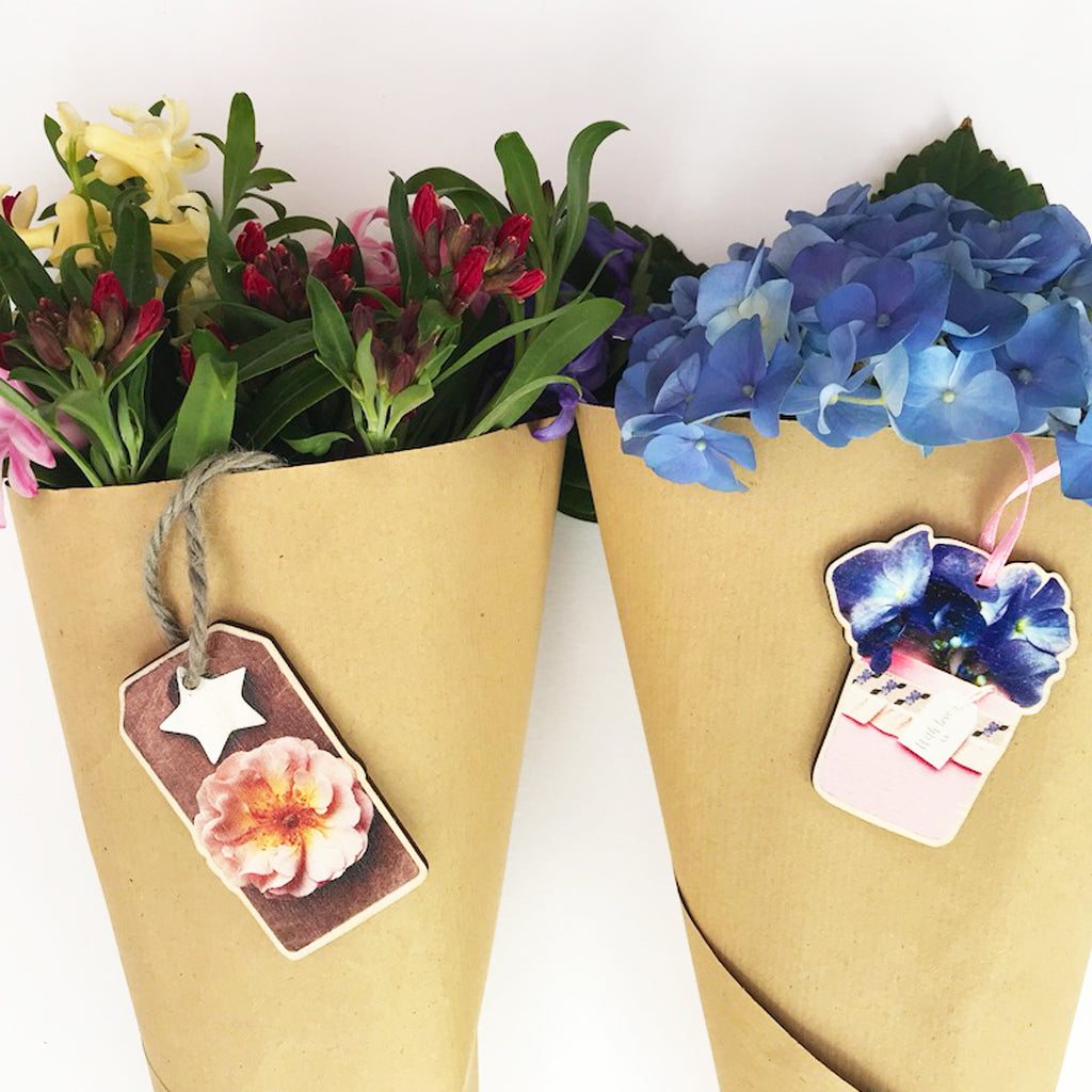 Rose Wooden Flower Decoration Gift Tag And Label - Kelly Rideout Design