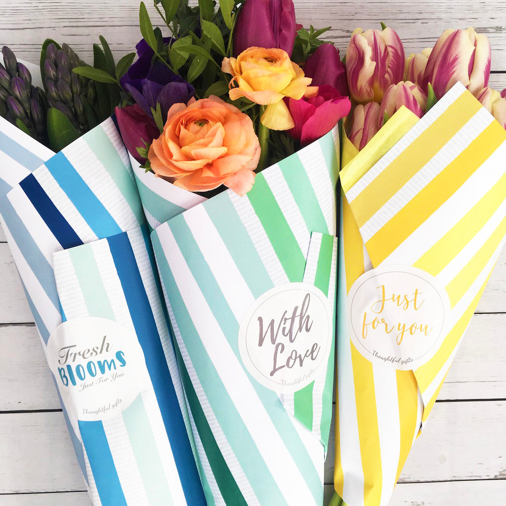 Cut Flower wrapping Paper and Matching Stickers - Kelly Rideout Design