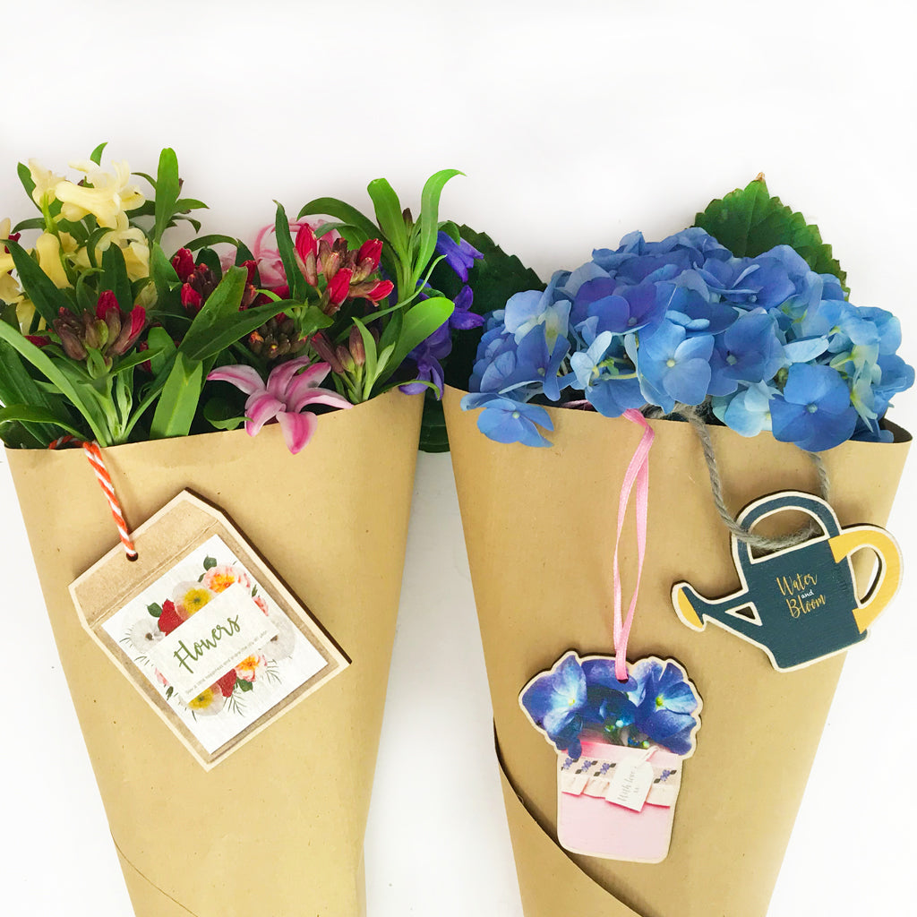 Flower Wooden Gift Tags - Set of Three