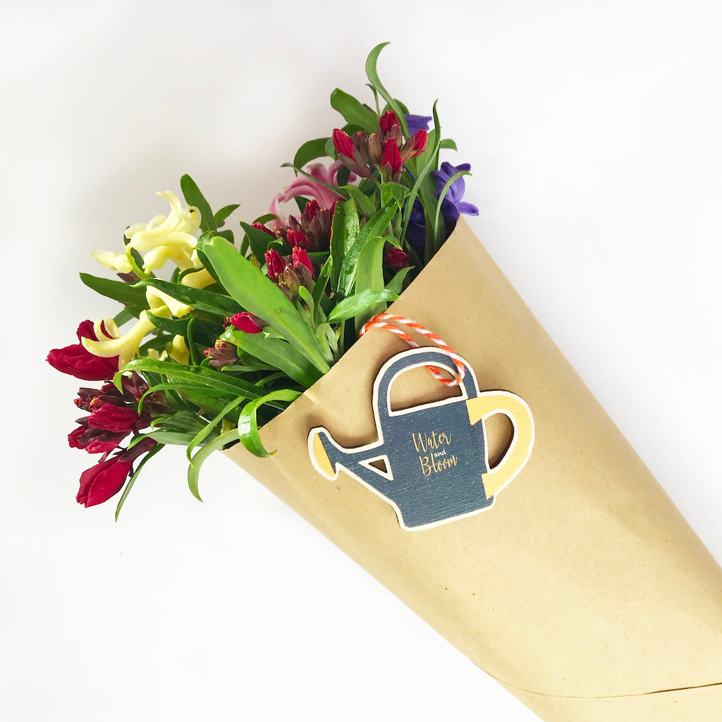Watering Can Wooden Flower Decoration and Keepsake Tag