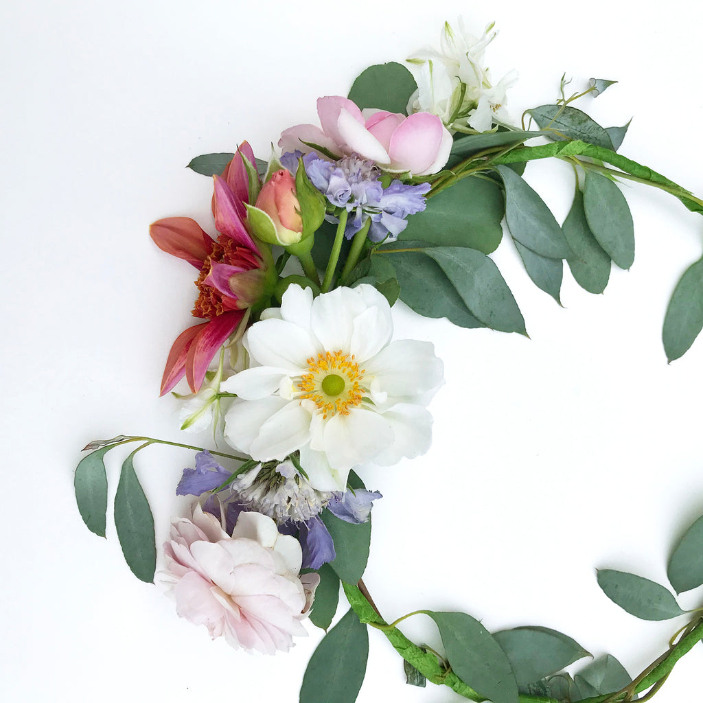 British Flower DIY Floral Crown - roses