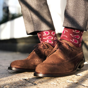 Made in Great Britain Men's Socks - Beautiful Twin Pack Burgundy