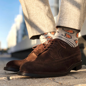 Grey orange polka dots, paisleys, plain men's socks