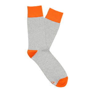 Grey orange contrast plain men's socks