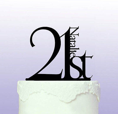 Elegant 21st Birthday Cake Topper