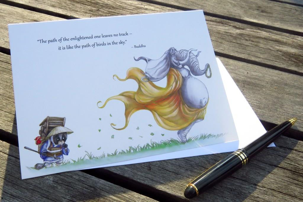 Inspirational Greeting Card from Trackless Paths by Joshua Chiang, featuring a meaningful quote from Buddha, and beautiful illustrations of animals
