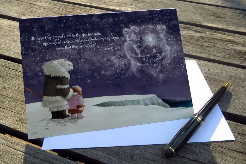 Inspirational Greeting Card from Trackless Paths by Joshua Chiang, featuring a meaningful Eskimo Proverb, and beautiful illustrations of animals