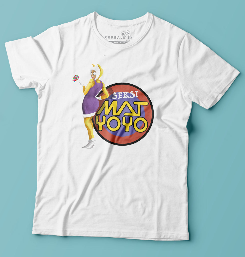 Sensi Mat Yo Yo T-Shirt is part of Cerealbox Shop's Retro TV Collection designed by Singapore Illustrator Joshua Chiang
