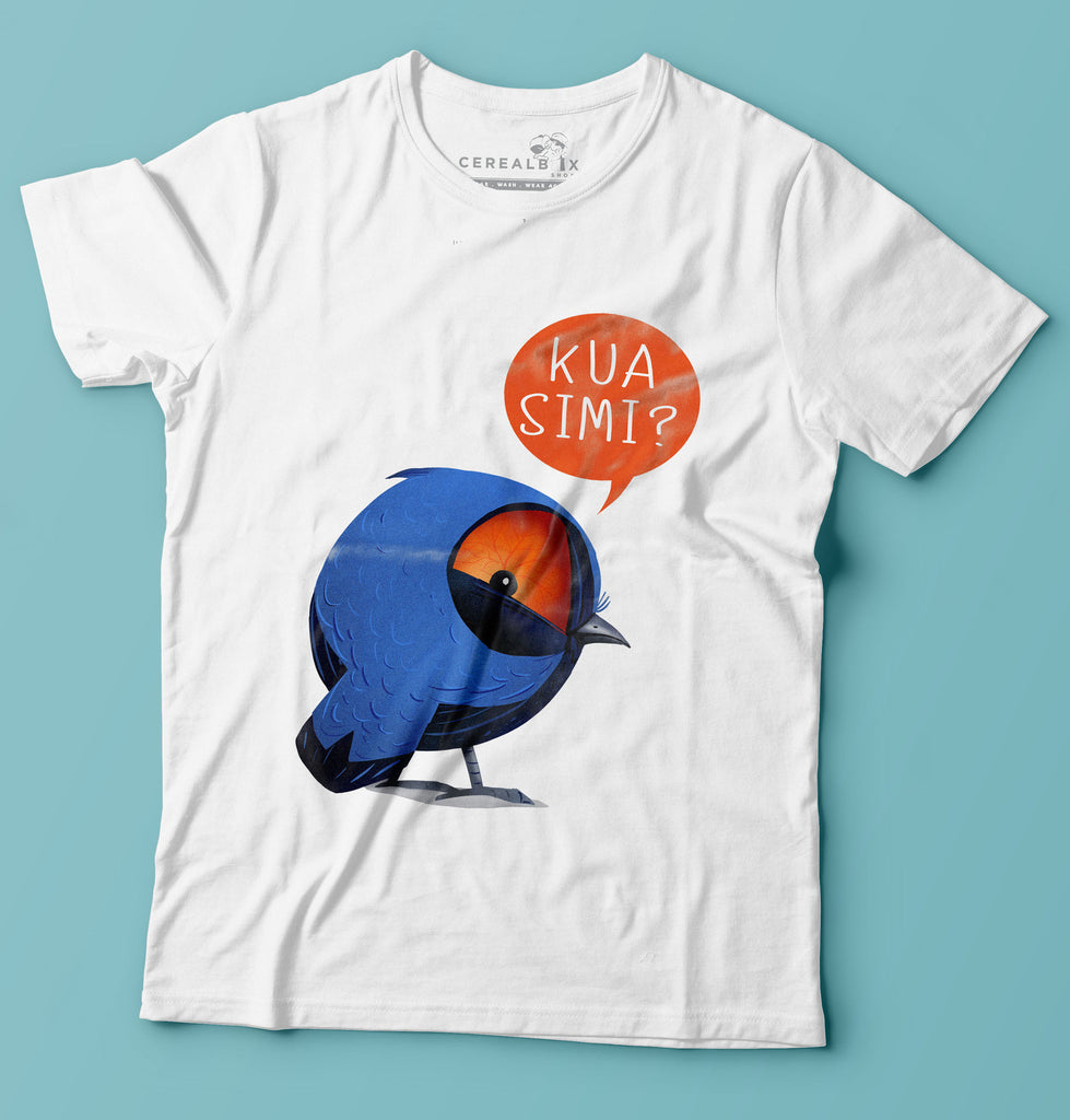 Kua Simi Blue Bird T-shirt is part of Cerealbox Shop's SG Animal Collection designed by Singapore Illustrator Joshua Chiang
