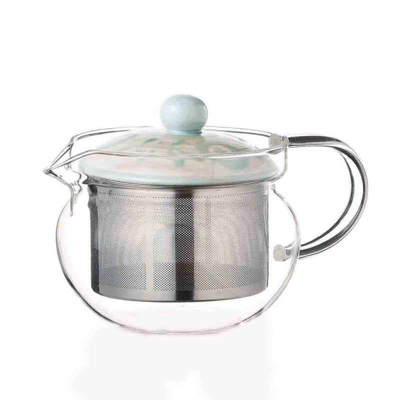 Saikai Ceramics: Gaeden, Glass Tea Pot, Baby Blue - 1