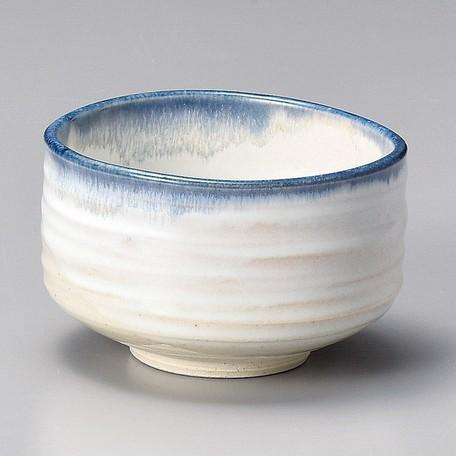 Yamaki Ikai: White and Blue edge Matcha Tea Bowl (Kaneta Ceramics)