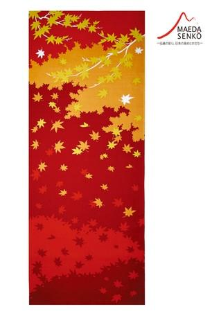 "Maeda Senko: Tenugui Hand Cloth ""Koyo"" (Autumn Leaves), Shikisai Series November"