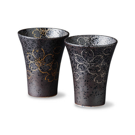 Saikai Ceramics: Yoshino - Black Porcelain Pair Tumblers, Gold & Silver Sakura Design with Gift Box