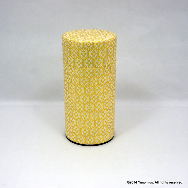 Okumura Seikan: Tea Canister, Chiyogami Washi Paper, Gold and White (175g)