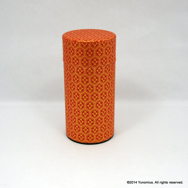 Okumura Seikan: Tea Canister, Chiyogami Washi Paper, Red and Gold (175g)
