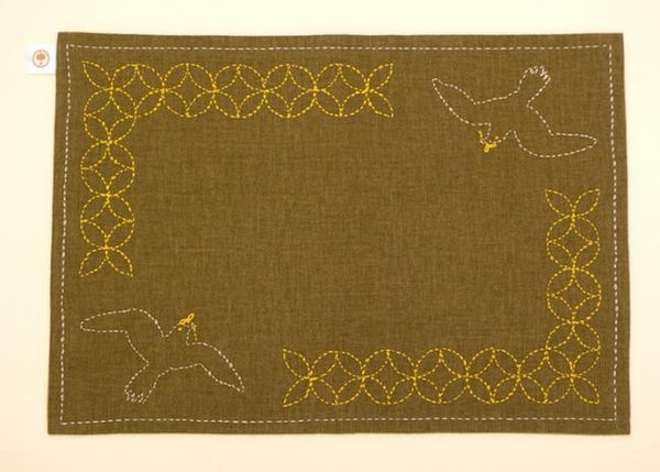 TOHOKU: Hand stitched by Tsunami Survivors Sashiko Luncheon Mat - Swallow Pattern on Green - 1